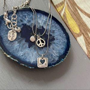 Brighton Gratitude Double Chain Peace Necklace